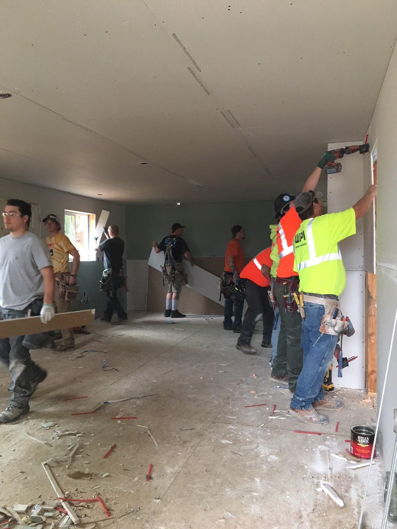 WPI Habitat for Humanity Hanging Drywall 7