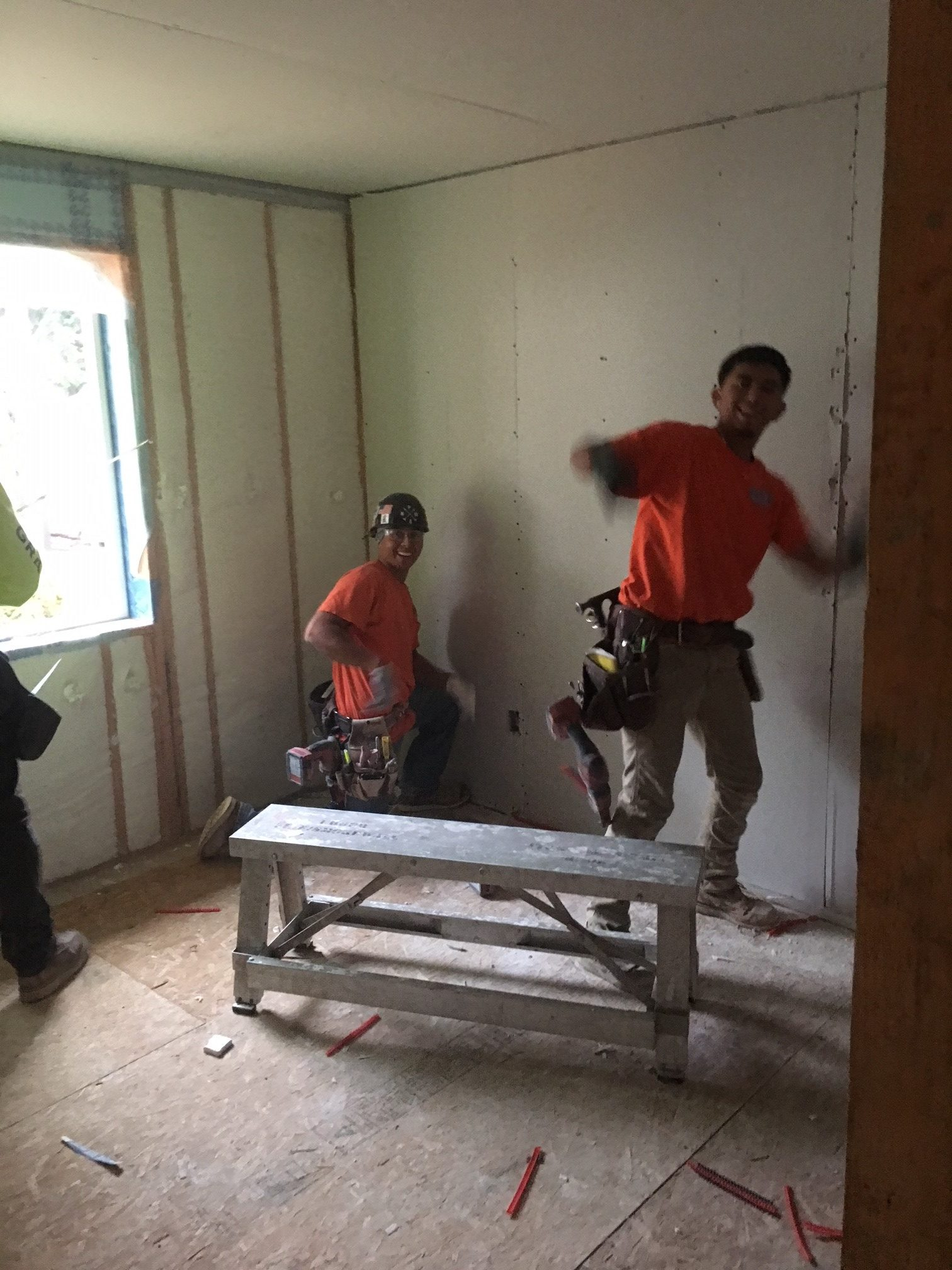 WPI Habitat for Humanity Hanging Drywall 1